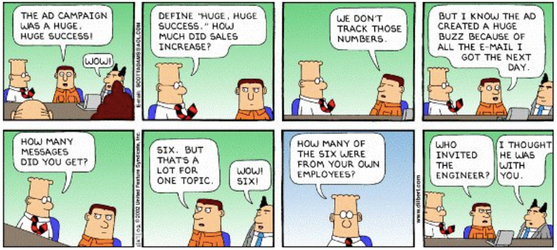 Dilbert Analytics Ads joke